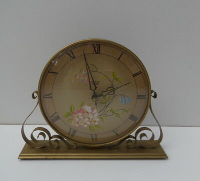 Vintage Smiths Sectric Mantel  Clock Metal Gold Floral Good Condition