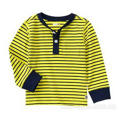 NEW Crazy 8 Baby Toddler Boys 18-24 mos Yellow Striped Cotton Long Sleeve Shirt