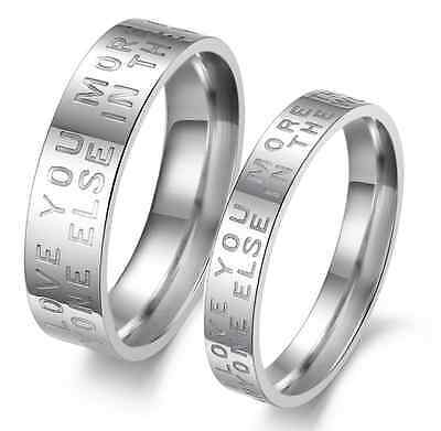 """Titanium Steel Circle Stamped """"Love""""  Valentine's best Gifts couple rings 1 pair"""