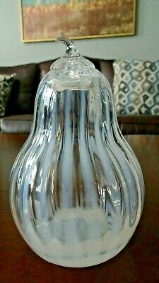Opalescent MURANO ITALY Art Glass Melon Vertical Ribbon RIBBED PEAR Paperweight
