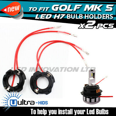 x2 H7 LED Conversion Kit Bulb Holders VW Golf MK5 2004-2009 UK SELLER B7