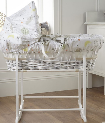 New Clair de lune white wicker moses basket in sleep tight white deluxe stand