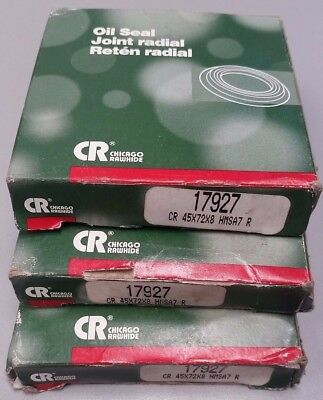 Lot of 3, Chicago Rawhide CR 17927 Oil Seals CR 45X72X8 HMSA7 R