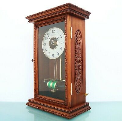 BULLE WALL OR MANTEL Clock Antique Carved Wood SERVICED/ REWIRED ELECTRIC French