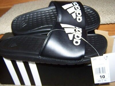 84bacf443bf4 ADIDAS Voloomix Slides Mens 10 NEW NIB BLACK WHITE 3 STRIPE LOGO SO COMF