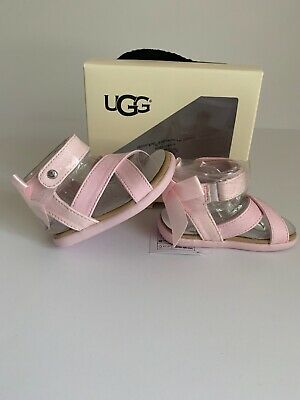 c73558b7496 UGGS BABY GIRL Shoes Allairey Sandals Pink Flower Sz 2/3 Easy Close ...
