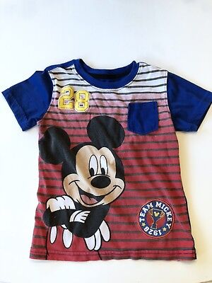 Toddler Boy Disney Mickey Mouse Blue Red Striped Pocket T shirt Top Sz 4T