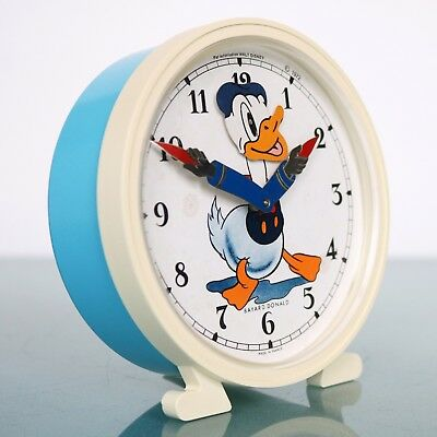 BAYARD DONALD DUCK French Vintage Disney Alarm CLOCK 1972 Mantel Motion ANIMATED