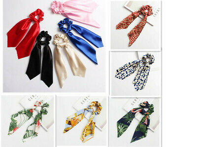 Women Girls Elastic Ribbon Bow Hair Tie Rope Lady Hair Band Scrunchies Ponytail