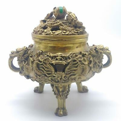 Vintage Detailed Lovely Chinese Brass Dragon Incense Burner With Jade Pearl