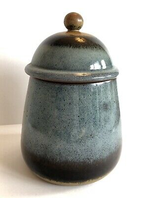 Vintage MCM Pottery Craft USA Blue Stoneware Canister Cookie Jar w Lid