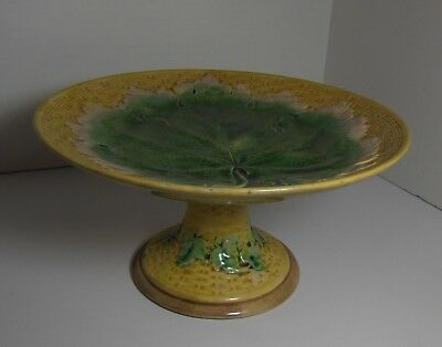 Etruscan Griffin Smith & Hill GSH Maple Leaf Cake Stand Plate Majolica
