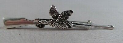 Superb Sterling Silver Rifle & Pheasant Pin / Badge / Brooch / Pendant