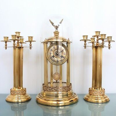 German TOBIAS BAUERLE Antique Mantel CLOCK TOP SET DOME PILLAR Sidepieces! Chime