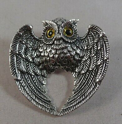 Superb Sterling Silver And Flying Owl Pin / Badge / Brooch / And Pendant