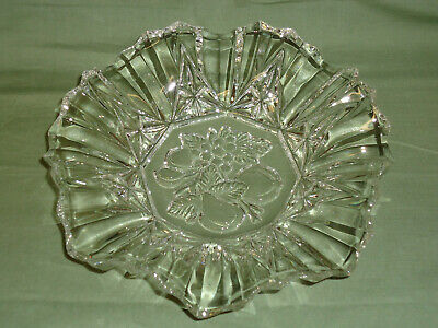 Vtg Clear Cut Glass Curved Serving Tray Platter Plate Fruit Design # 1220-HMS