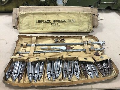 WWII Era US AAF Army Air Force Type D-1 Airplace Mooring Kit w/Canvas Case RARE