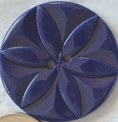 "N150/   6 Dark Navy Blue Plastic Star Or Flake  Button 1 1/8"" Quantity Discount"