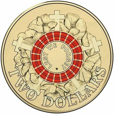 2015 ANZAC DAY Lest We Forget $2 Coloured coin - taken from RAM bags.