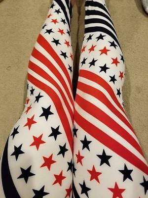 4808b9600f9fc One Size OS Size Creamy Patriotic Flag Pattern Leggings Sizes 0-12 4th of  July