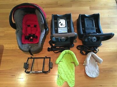 Red BRITAX SAFE N SOUND Unity Capsule w/ Extra Base + Adaptor + Head Support!