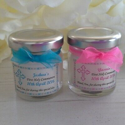 10 x Handmade Personalised Mini Jar Candle First Holy Communion Favour Gift