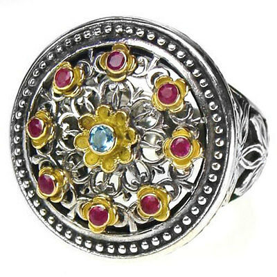 Gerochristo 2445 ~Solid Gold, Silver & Stones Multicolor Medieval Byzantine Ring
