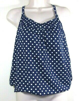4a7fd75c4a LANDS END SWIMSUIT TANKINI TOP womens 16 Long padded Deep Sea navy ...