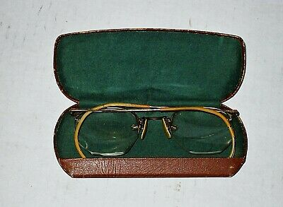 Antique American Optical AO 1/10 12k Gold Filled Wire Eyeglasses w/Ray Ban Case
