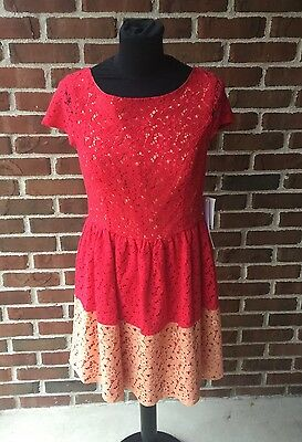 KEEPSAKE LOVE AFFAIR Lace Sheer Overlay Dress Red Size