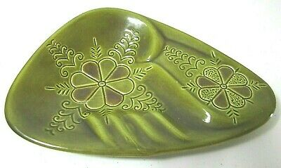 Vintage 60s 70s Avocado Green Floral Mid Century Modern Ashtray SIGNED Ceramic