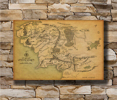 Hot Fabric Poster The Lord of the Rings Movie Map of Middle Earth 40x27inch Z93