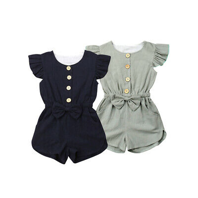 Summer Toddler Kids Girls Ruffle Romper Bodysuit Jumpsuit Outfit Clothes Sunsuit
