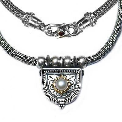 Gerochristo 3004 ~ Solid Gold, Sterling Silver,Pearl Byzantine Medieval Necklace