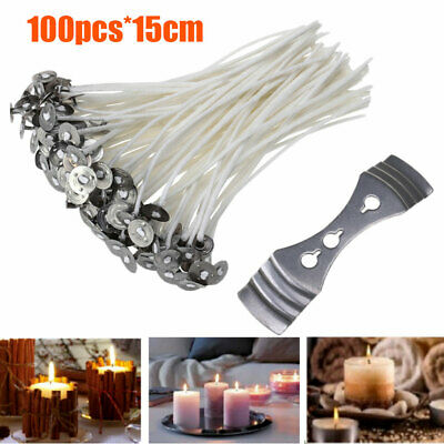 100Pcs 15cm Candle Wicks Cotton Core Pre Waxed With Sustainers For Candle Making