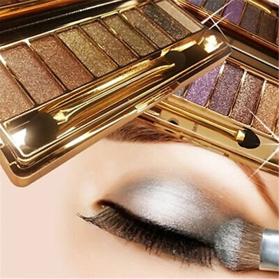 9Colors Shimmer Eyeshadow Glitter Eye Shadow Palette & Makeup Cosmetic Brush Set