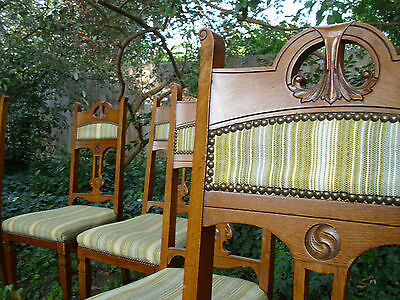 Antique Aesthetic Movement Furniture Dining Room Parlor Chair Set 6 Chinoiserie