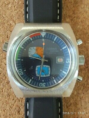 NOS Sorna Chronograph EB8420  17j Stainless Steel Big Size Watch