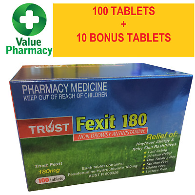 * New Trust Same As Telfast Fexofenadine 180Mg (110) Tablets Free Postage