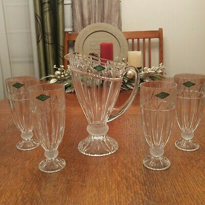 24% Lead Crystal Godinger Olympia Water Pitcher With 4 Water Glasses