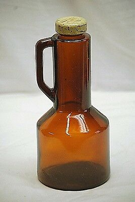 "Old Vintage Long Neck Amber Glass Syrup Bottle w Lid & Handle 8-3/4"" Tall"