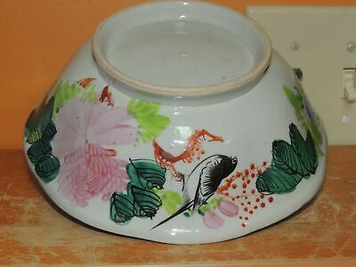 """Chinese 8"""" Hand Painted Bowl Antique Qing 19th or earlier Lobed & Footed"""