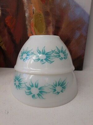 Vintage PYREX Turquoise Flannel Flowers Mixing Bowls x 2 1960s