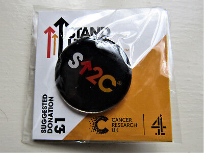STAND UP TO CANCER BLACK SHORT LOGO Cancer Research UK Charity Pin Badge