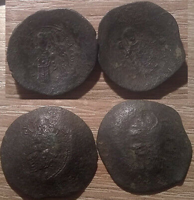 Lot 2 Rare genuine ancient BYZANTINE coins Manuel I Comnenus 1143 Victory Christ