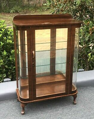 Antique 1920's timber glass collectables display cabinet mirror back bookcase
