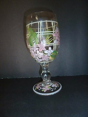 Zrike Hand Painted Dragonfly & Floral Purple & Pink Flowers 16 OZ Stemmed Glass