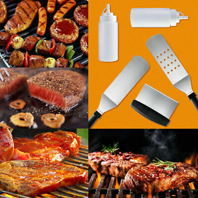 c83aac56d05 5pcs BBQ Grill Spatula Barbecue Griddle Accessory Kit Stainless Steel Tool  Set