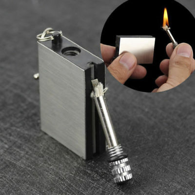 Permanent Metal Match Box Lighter Cigarette Camping Keyring Novelty