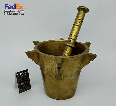 Mortar And Pestle rare Antique heavy solid brass old Apothecary Herb Grinder
